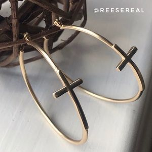 Gold Tone Hoop Earrings with Cross